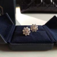Luxury wedding designer jewelry earrings 925 silver gold plated high quality diamond flower earrings for women