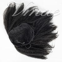 브라질 4A 4B 4C 120G 자연 색상 말꼬리 아프리카 곱슬 곱슬 곱슬 스트레이트 탄성 밴드 레미 버진 인간의 머리카락 확장 Drawstring Ponytail
