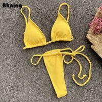 Frauen Badebekleidung Bkning Gelb Bikini 2 Stück Brasilianer Tanga Bikinis Set 2021 Frauen Strand Badeanzug Solide String Bikiny Tanga Micro Rot