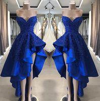 Royal Blue без бретелек атласная линия длинные платья выпускного вечера 2019 бисером камни высокий низкий вечернее платье вечерние платья BC1866