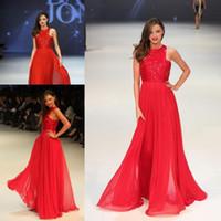 Miranda Kerr Hot Red High Neck Sequins Chiffon Golvlängd Lång kändisar Kappa Evening Dress Evening Gown CD046