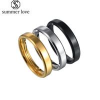 4 мм 6 мм 8 мм кольца из нержавеющей стали для мужчин Женщины Простая пара Свадьба Высокие полированные края Обращающиеся Группа Кольцо Ювелирные Изделия Черное Золото Серебро