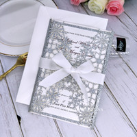 Plata Copo de nieve Brillo Invitación de boda Corte Laser Quinceanera Invitaciones Brunch Brunch Tarjeta Cumpleaños Coctel Fiesta Invitaciones con cinta