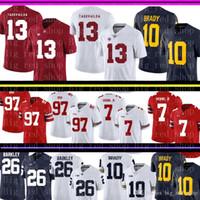 Alabama Carmesim Maré 13 Tua # Tagovailoa Jersey Mens Michigan Wolverines 10 Tom 10 Brady College Jerseys Barato