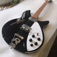 RIC John Lennon Jetglia 330 6 String Semi SEMI Body Black Guitar Guitar Electric Foro singolo, Bianco Triangle Triangle Dereoard Inlay Trasporto libero