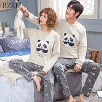 BZEL Couple Ensembles de pyjama à manches longues Vêtements de nuit en coton Sous-vêtements Panda Sleep Lounge Lovers 'Clothes Pyjamas Femmes Casual Home Wear