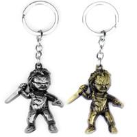 MOQ: 10 STÜCKE Modeschmuck Schlüsselanhänger Horror Film Samen von Chucky Keychain Figur Cosplay Anhänger Schlüsselanhänger Auto Schlüsselanhänger Für Männer