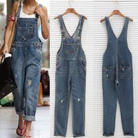 2019 Women Girl Washed Denim bodysuit Ladies Casual Jeans Ho...