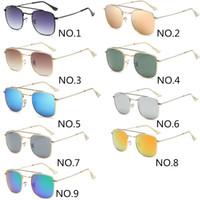 Moda Kare Renkli Film Güneş gözlüğü Moda Erkekler Kadınlar Marka Tasarımcı Sürüş Gözlük UV400 Gözlüğü Metal Çerçeve Parlamaz Gözlükler 9 Renk