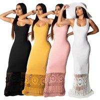 Solid Knitted Sexy Scoop Neck Maxi Dress Summer Sleeveless L...
