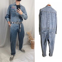 Spring and autumn tooling denim jumpsuit male Japanese strai...
