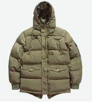 Erkek Marka Tasarımcısı Kış Aşağı Ceket Parkas Erkek Kalın Kapşonlu Ceket Yüksek Kalite Düz Renk Rüzgarlık Giyim