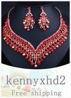 Übertriebene Quaste Kristall Halskette Ohrringe luxuriöse Diamant Naher Osten afrikanische Braut Hochzeit Schmuck-Set