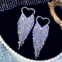 Frauen Hohl Herz Bolzenohrrings Bling Bling Strass Herz Lange Quaste Ohrring Geschenk für Liebe Freundin Hochzeit Schmuck Zubehör