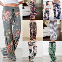 2020 nouveaux pantalons de couchage à la maison de plage casual femmes design imprimé camouflage bande floral élastique à la taille des pantalons longs lâche jambe large de-3XL