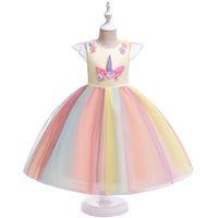 Vestito da tutu principessa per bambina vestito carino con stoffa gonna torta di compleanno ins abbigliamento per bambini unicorno arcobaleno vestito festival vestiti in costume