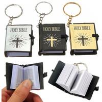 Moda Inglés Biblia cristiana Mini Llaveros Llaveros Regalo Jesús Cruz Religioso Decoración Simulación SANTA BIBLIA para regalo
