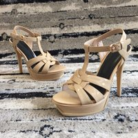 Venta caliente-Origianl Box 2018 Nuevo Color Popular SummeSandals Riband Correa del tobillo Chunky Heel Shoes Party Sexy Fashion Ladies Shoes 10.5 CM