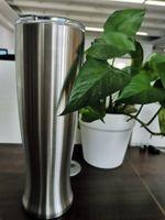 30 Oz de Aço Inoxidável Pilsner Copo de Cerveja de vidro Escritório Casa de Café caneca de cerveja Vacumm Criativo Vaso Copo Com Tampas Manter frio pode personalizado