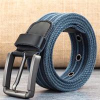 BOKADIAO MenWomen Tela cintura Pin di metallo di cotone dei jeans fibbia della cintura punk dell'esercito cinture tattiche per gli uomini di sesso maschile cintura cinturino