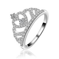 Frauen Kristall Krone Zirkon Elegante Ring Mode Weibliche Romantische Prinzessin Herz Hochzeit Verlobungsringe Für Party Geschenk Schmuck Großhandel