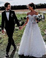 2020 Estilo Fada Alças A Floral Vestidos Linha do casamento do laço 3D apliques Country Garden Vestido de Noiva Sexy Illusion Dividir Vestidos H067