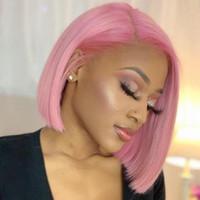 브라질 핑크 짧은 밥 가발 검은 색 여성 인간의 머리 가발 핑크 컬러 사전 뽑아 100 % 인간의 머리 레이스 앞 가발