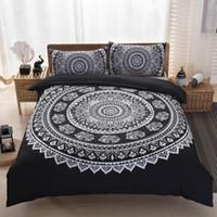 Sıcak 2020 Retro Stil Yeni 2 / 3PCS Bohemian Mandala Nevresim Nevresim Yastık Kılıfı Seti Yatak Çanta Yatak