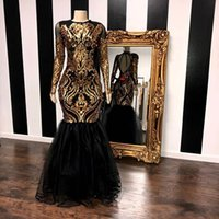 Sparkly Gold Black Mermaid Evening Formal Dresses with Long ...