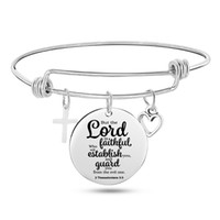 Fashion Engraved Bible Psalm Stainless Steel Bangle Cross Heart Charms Bracelets Adjustable Bangles Christian Jewelry