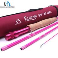 Maximumcatch 2 / 5WT 6.5 / 9FT Rosa Fly Rod 4 Peças 30 T De Fibra De Carbono Médio-Fast Fly Fishing Rod Para Senhoras