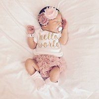 3PC Summer Newborn Infant Baby Girls Clothes Outfit Short Sleeve Romper Jumpsuit +Lace Pants Baby Clothing Set