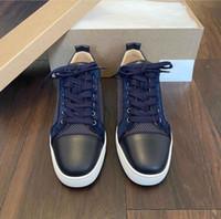 2020 Marques Bleu Calfskin cuir Orlato Casual junior Low Top Sneakers Red Bottom Chaussures pour femmes, hommes de planche à roulettes cadeau parfait, boîte