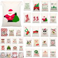 54 Styles Sacs cadeau de Noël Toile Sac à cordonnet avec Reindeers Père Noël Sac de jute Sacs pour enfants Décoration WX9-1550