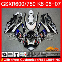 Blue black hot Body For SUZUKI GSX R600 GSX R750 GSXR600 200...