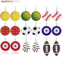 New Sports Round Leather Earrings Football Basketball Vollyb...