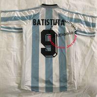 Top 1998 Argentine Rétro Soccer Jerseys Maradona 10 Simeone Batistuta Redondo Ortega Home Futbol Chemises Kits Uniformes Thaïlande Taille de football Taille S-XXL