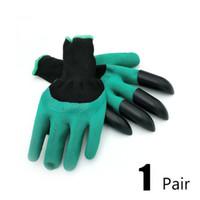2020 Garten-Handschuhe mit 4 ABS-Kunststoff-Greifer für Garten Graben Pflanz 1 Paar Tropfen GT202