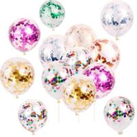 2019 neue Art und Weise Multicolor Latex Pailletten gefüllt Klar Balloons Kurios Kinder Spielzeug Schöne Geburtstags-Party Hochzeit Dekorationen
