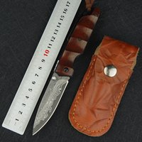 Damascus steel outdoor survival folding knife sandalwood han...