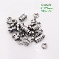 500 개 / 몫 MR126ZZ MR126 ZZ MR126Z 6x12x4 미리 메터 금속 커버 소형 깊은 홈 볼 베어링 6 * 12 * 4 미리 메터