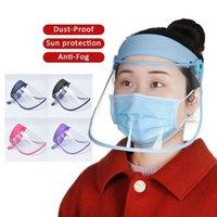 ABD Depo 10 Adet DHL Ayarlanabilir Film Saç Bandı Koruyucu Yüz Maske Güneş Şapka Karşıtı Damlacık Karşıtı Toz Yeniden kullanılabilir Tam Yüz Kalkanı Maskeleri Kapak