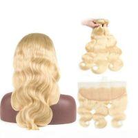 Индийские пачки волос волны тела с кружевной лобной замыканием 613 блондинки человеческие волосы фронтальные с младенцем волос 3 пучка с закрытием Remy