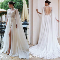 2020 New A Line Wedding Dresses High Neck Long Sleeve Tulle ...