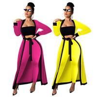 Женская спортивная одежда с длинным рукавом длинный кардиган спортивный костюм 3 шт. Комплект толстовка верхняя одежда пальто топы брючный костюм модная женская одежда klw2286