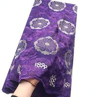 Новая африканская Voile ткань шнурка Швейцарский Пурпурный Пурпурный Нигерийский Сухое Lace ткани высокого качества хлопка ткань шнурка с камнями