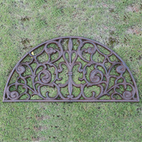Capacete de ferro fundido meia rodada tulipa esteira de porta rolada antique decorativo metal tapete marrom vintage jardim jardim jardim pátio ornamento de grama artesanato
