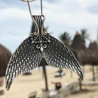 Tocona Mystical Mermaid Pendant Necklace Antique Silver Whal...
