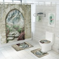 Stone Gate Behind Snow Mountain Fabric Shower Curtain Landsc...