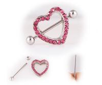 والأكثر مبيعا 3 لون الجسم حلقة الثدي الخوخ القلب المزدوج حب الماس مسمار ثقب المجوهرات الشحن مجانا